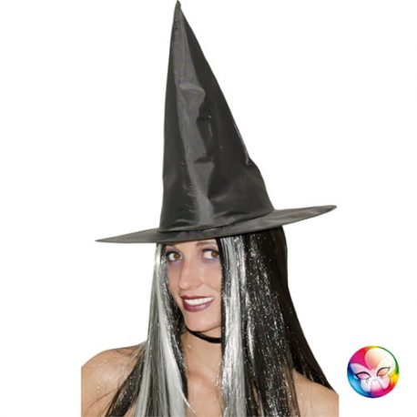 Chapeau sorcière noir avec cheveux