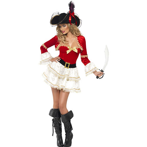 costume femme capitaine pirate sexy rouge et blanc. Black Bedroom Furniture Sets. Home Design Ideas
