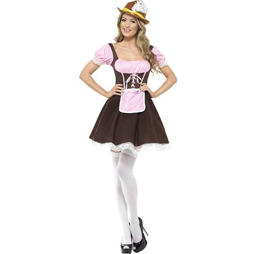 costume femme serveuse de taverne robe marron et rose. Black Bedroom Furniture Sets. Home Design Ideas