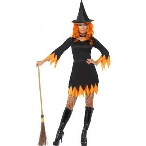 Costume femme sorcière orange