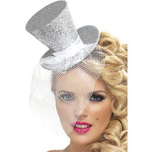 Mini chapeau haut de forme filet paillettes argent