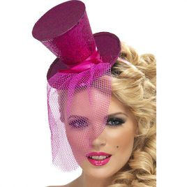 Mini chapeau haut de forme filet paillettes fushia