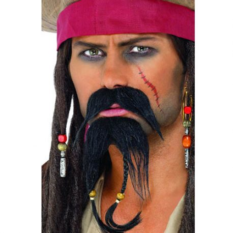 Moustache barbe pirate noires