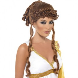 Perruque déesse grecque brune Clementia