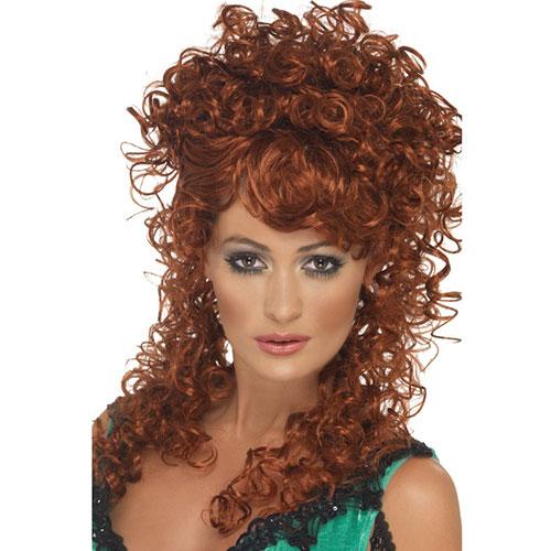 Perruque saloon girl rousse, mi-longue et