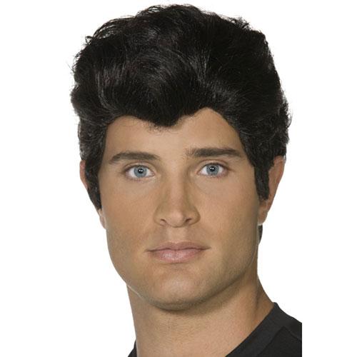 Perruque Danny noire Grease, coiffure en