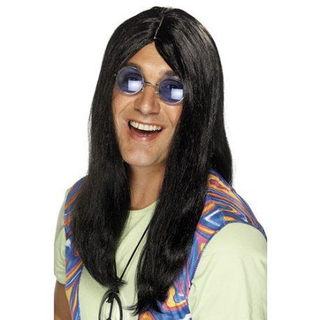 Perruque groovy hippie noir