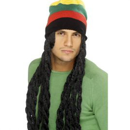 Perruque rasta noir, dreadlocks