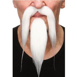 Moustache barbe luxe chinois blanches