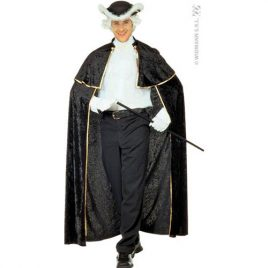 Cape velours noir jabot blanc