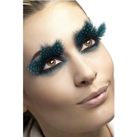 Faux cils plumes pois turquoise