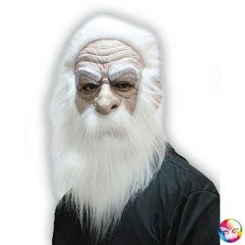 Masque vieux mage blanc latex et cheveux adultes