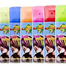 Laque cheveux fluo jaune, bleu, orange, rose,rouge, vert