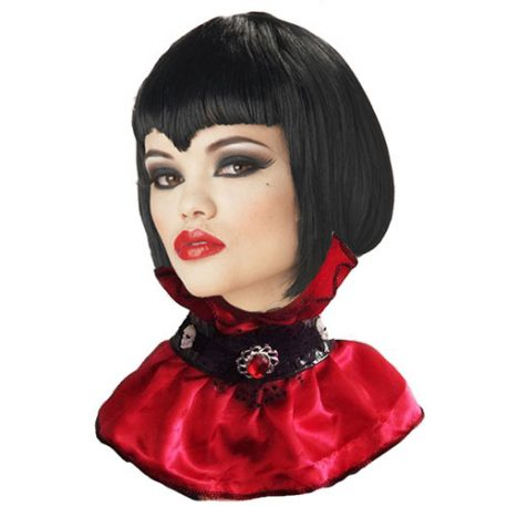 Col gothique rouge noir dentelle