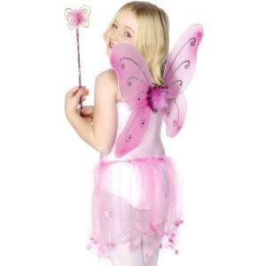 Costume de papillon avec des ailes coloris rose
