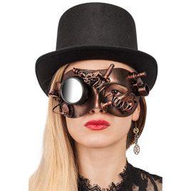 Masque loup steampunk cuivré