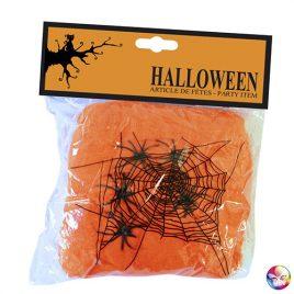 Toile d'araignée orange 100g avec araignées