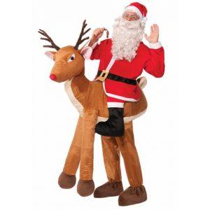 Costume de Père Noël sur Renne