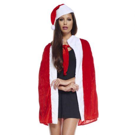 Cape et bonnet rouge blanc