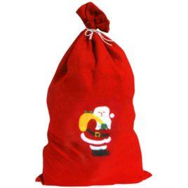 Hotte du Père Noël rouge décorée