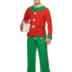 costume d'elfe rouge et vert